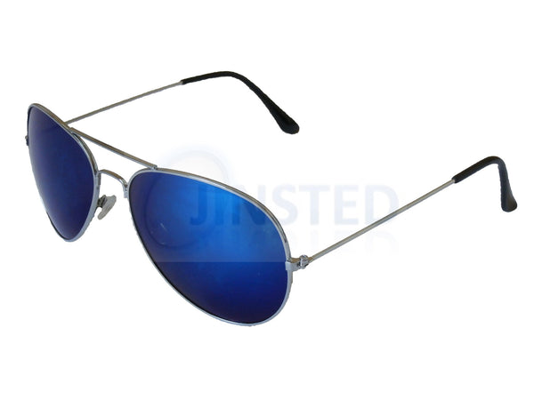 Adult Sunglasses, Adult Blue Mirrored Reflective Aviator Sunglasses with Silver Frame, Jinsted