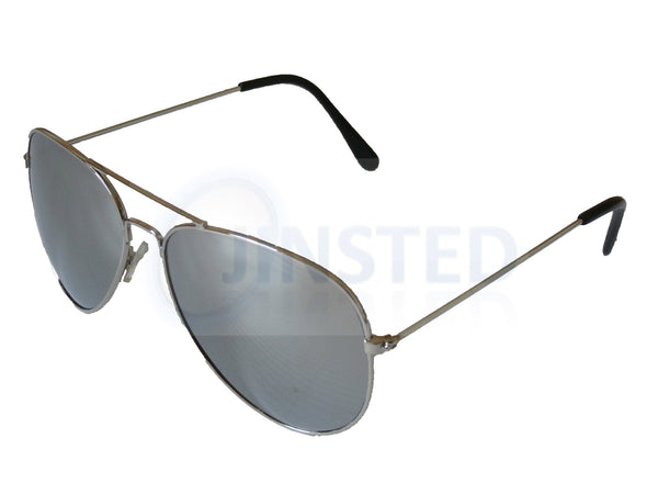 Silver Mirrored Reflective Aviator Sunglasses AA005 Jinsted
