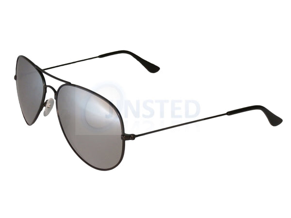 Silver Mirrored Reflective Lens Black Frame Aviator Sunglasses AA006 Jinsted