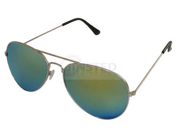 Green Mirrored Reflective Lens Silver Frame Aviator Sunglasses AA008 Jinsted