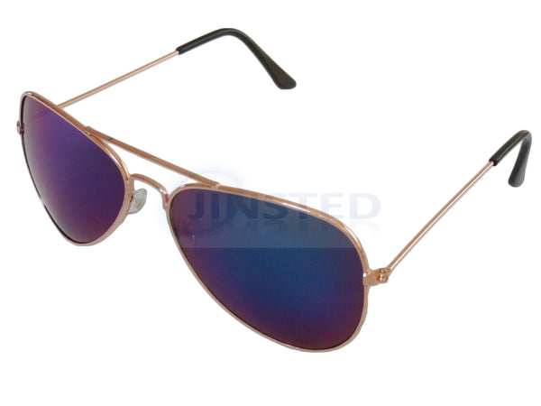 Adult Sunglasses, Adult Blue Mirrored Reflective Lens Gold Frame Aviator Sunglasses, Jinsted