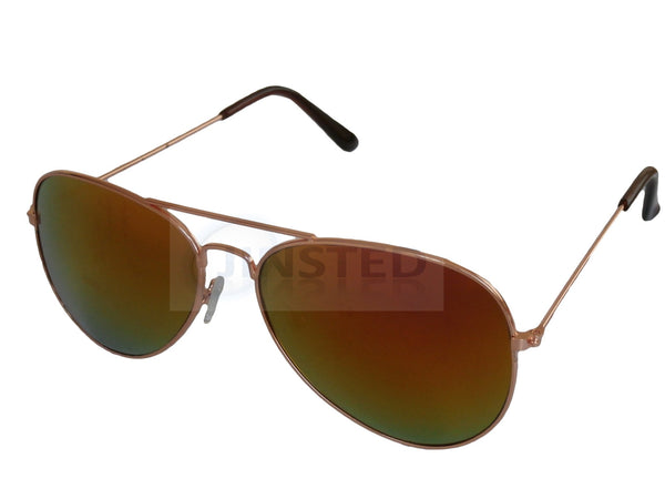 Mirrored Reflective Lens Gold Frame Aviator Sunglasses AA011 Jinsted