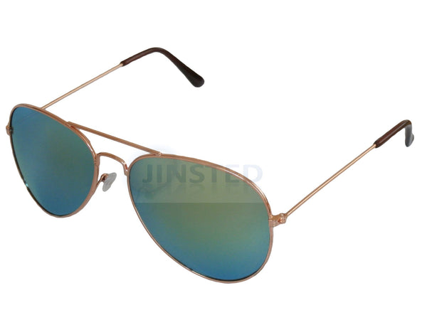 Adult Sunglasses, Adult Green Mirrored Reflective Lens Gold Frame Aviator Sunglasses, Jinsted