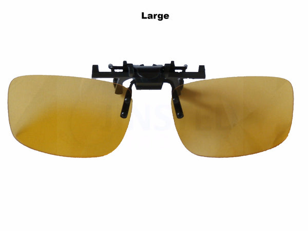 Adult Sunglasses, Yellow Polarised Clip On Flip Up Fishing Sunglasses.  Large Medium or Small, Jinsted