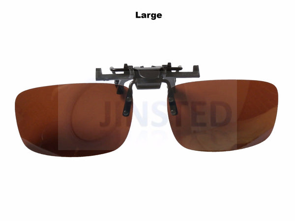 Large Brown Polarised Clip On Flip Up Sunglasses. ACP002 Jinsted