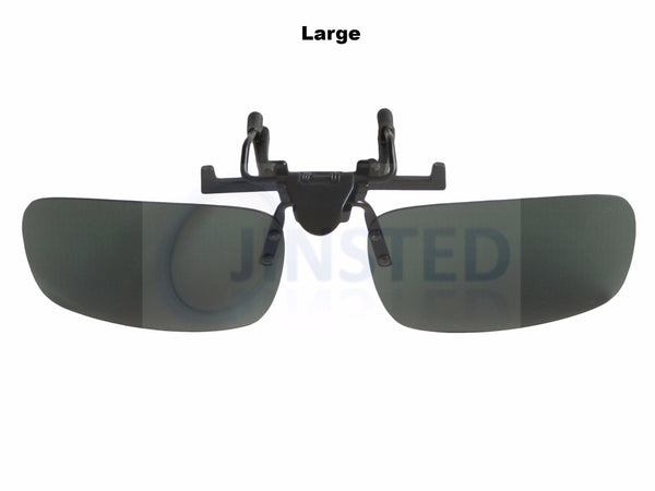 Adult Sunglasses, Green Polarised Clip On Flip Up Sunglasses.  Large Medium or Small, Jinsted