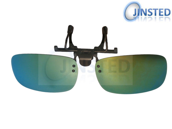 Adult Sunglasses, Green Mirrored Reflective Clip On Flip Up Sunglasses, Jinsted
