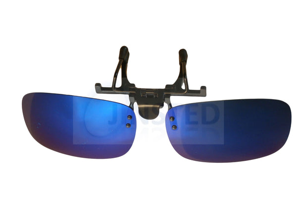 Adult Sunglasses, Blue / Green Mirrored Reflective Clip On Flip Up Sunglasses, Jinsted
