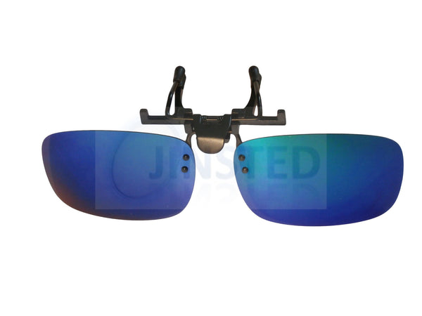Adult Sunglasses, Blue Mirrored Reflective Clip On Flip Up Sunglasses, Jinsted