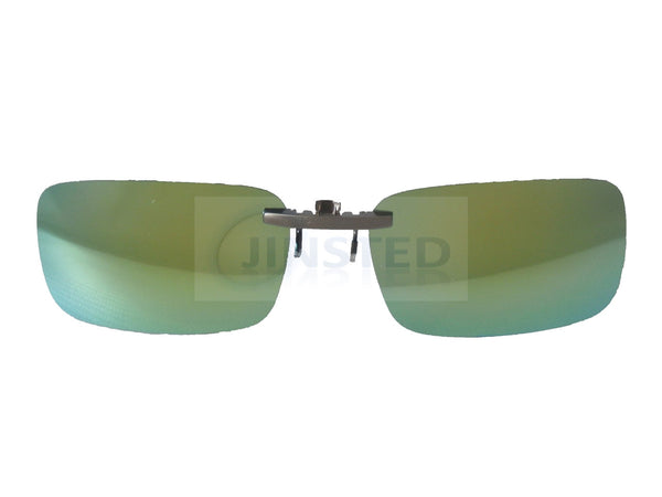 Green Mirrored Reflective Clip On Sunglasses ACP010 Jinsted