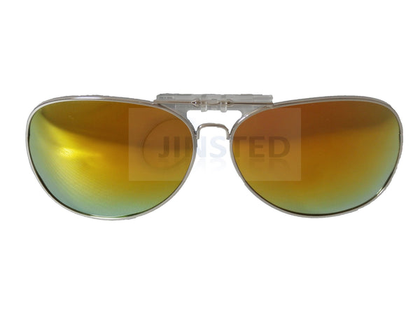 Adult Sunglasses, Yellow Mirrored Reflective Aviator Clip On Flip Up Fishing Sunglasses, Jinsted