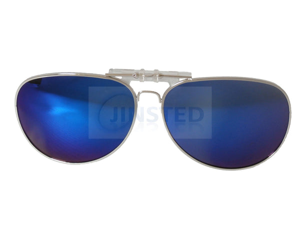 Adult Sunglasses, Blue Mirrored Reflective Aviator Clip On Flip Up Sunglasses, Jinsted