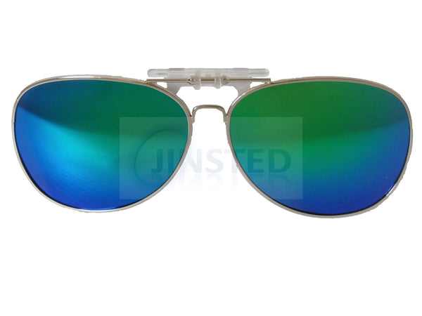 Adult Sunglasses, Green Mirrored Reflective Aviator Clip On Flip Up Sunglasses, Jinsted