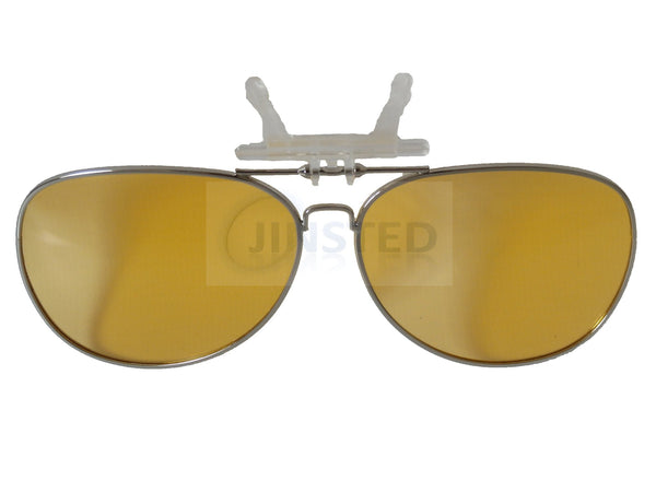 Adult Sunglasses, Yellow Aviator Clip On Flip Up Fishing Sunglasses, Jinsted