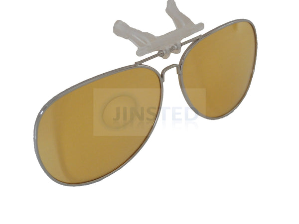 a718d4a0ff Yellow Aviator Clip On Flip Up Fishing Sunglasses – Jinsted