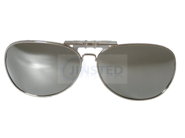 Adult Sunglasses, Silver Mirrored Reflective Aviator Clip On Flip Up Sunglasses, Jinsted