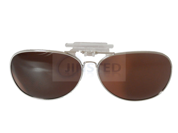 Brown Aviator Clip On Flip Up Sunglasses