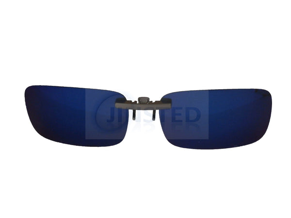 Adult Sunglasses, Blue Mirrored Reflective Clip On Sunglasses, Jinsted