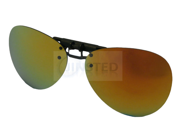 Adult Sunglasses, Mirrored Aviator Clip On Flip Up Sunglasses, Jinsted