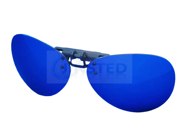 Blue Mirrored Reflective Aviator Clip On Flip Up Sunglasses