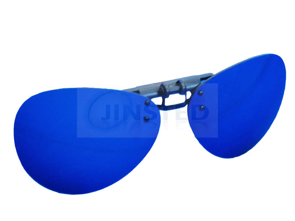 296a409cb4 Blue Mirrored Reflective Aviator Clip On Flip Up Sunglasses – Jinsted