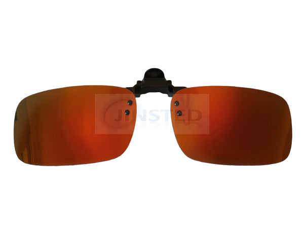 Adult Sunglasses, High Quality Gold Red Mirrored Reflective Clip On Flip Up Sunglasses, Jinsted