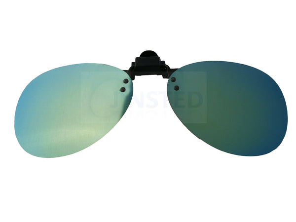 Adult Sunglasses, Green Mirrored Reflective Aviator Clip On Flip Up Pilot Sunglasses, Jinsted