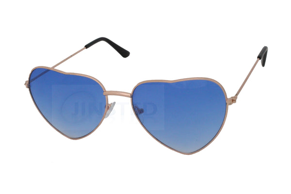 Adult Blue Lolita Heart Shaped Gold Frame Sunglasses - Jinsted