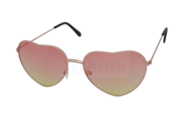 Adult Pink and Yellow Lolita Heart Shaped Sunglasses - Jinsted