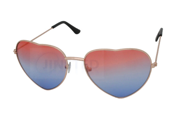 Adult Blue and Pink Lolita Heart Shaped Gold Frame Sunglasses - Jinsted