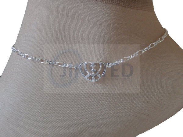 Ladies Jewellery, Silver Anklet with 2 Heart Charm, Jinsted