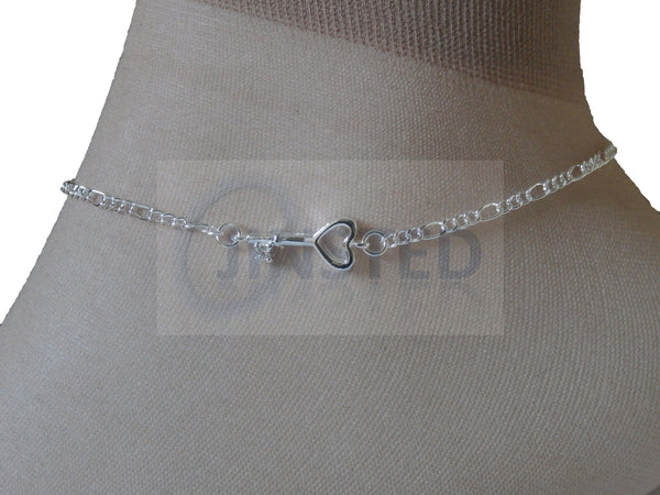 Silver Anklet with Key Charm