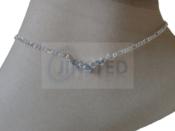 Silver Anklet with V Charm ANC018 Jinsted