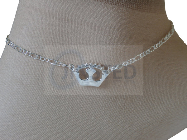 Ladies Jewellery, Silver Anklet with Crown Design, Jinsted