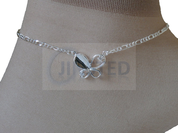 Ladies Jewellery, Silver Anklet with Butterfly Design, Jinsted