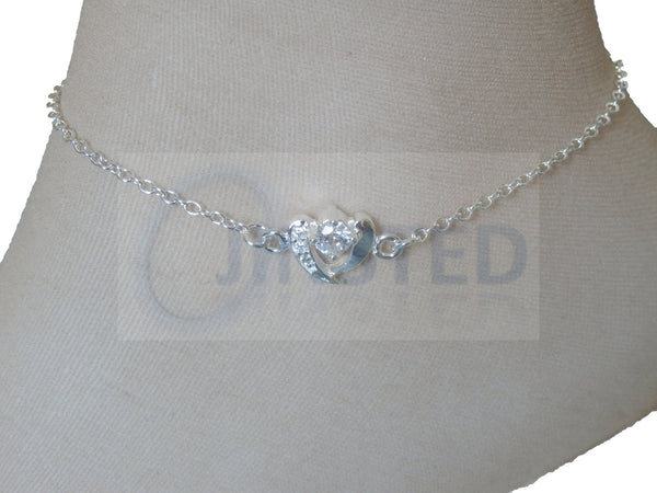 Ladies Jewellery, Silver Anklet with Split Heart Jewel, Jinsted