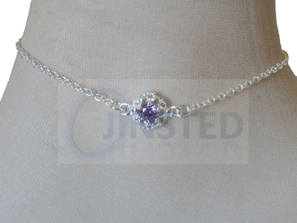 Silver Anklet with Purple Jewel in White Flower Design