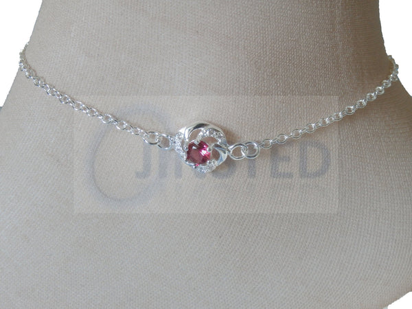 Silver Anklet with Red Jewel Design
