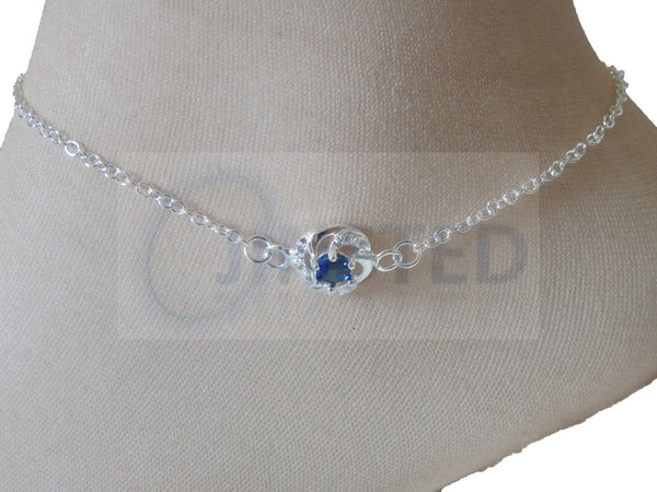 Ladies Jewellery, Silver Anklet with Blue Jewel Design, Jinsted