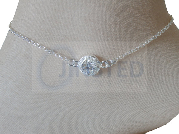 Ladies Jewellery, Silver Anklet with White Jewel Design, Jinsted