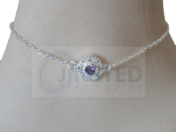 Silver Anklet with Purple Jewel Design