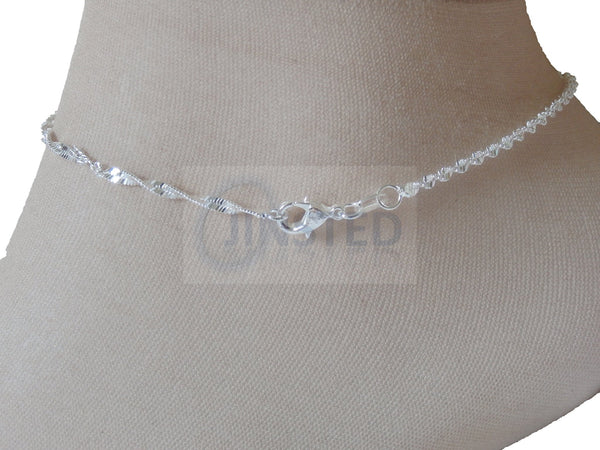 Ladies Jewellery, Silver Anklet with Twisted Pattern Design, Jinsted
