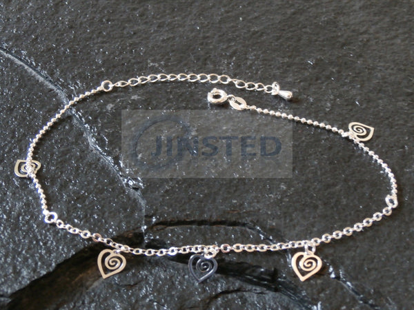 Silver Anklet with 5 Heart Charms