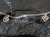 Ladies Jewellery, Silver Anklet with 5 Heart Charms, Jinsted