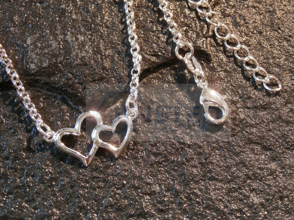 Silver Anklet with 2 Heart Charms
