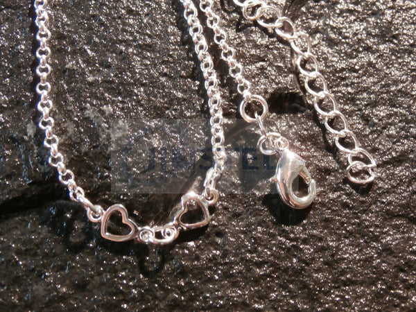 Ladies Jewellery, Silver Anklet with 6 Heart Charms, Jinsted