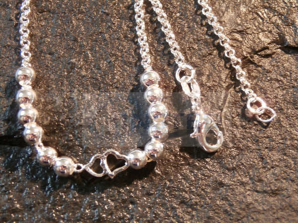 Silver Anklet with 6 Heart Charms