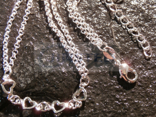 Silver Double Chain Anklet with 6 Heart Charms ANC041 Jinsted