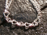 Ladies Jewellery, Silver Double Chain Anklet with 6 Heart Charms, Jinsted