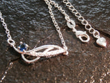 Ladies Jewellery, Silver Anklet with Blue Pendant, Jinsted